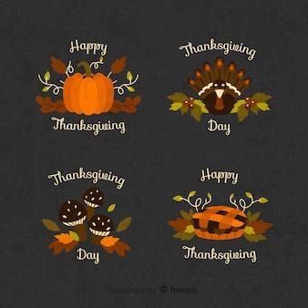 Verzameling van thanksgiving badge in plat ontwerp