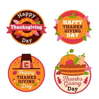 Verzameling van thanksgiving-label in plat ontwerp