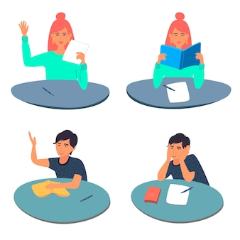 Verzameling van tienerjongens en -meisjes die aan hun bureau zitten. .vector illustratie
