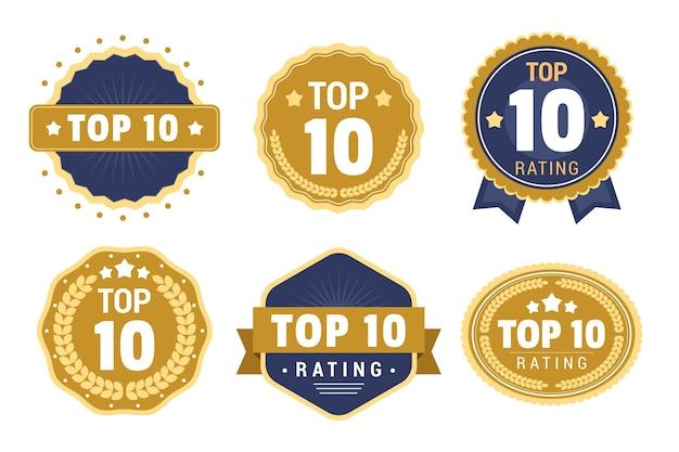 Verzameling van top 10 badges