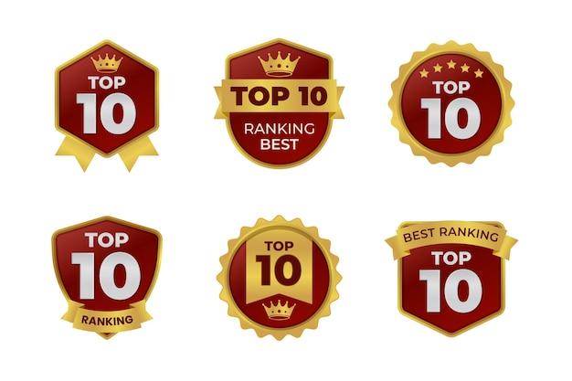 Verzameling van top tien badges