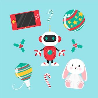 Verzameling van traditionele en moderne kerst speelgoed