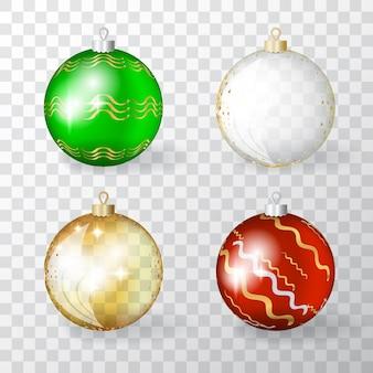 Verzameling van transparante realistische 3d-kerstballen met gouden ornament. set van gouden, rode en groene kerstballen of nieuwjaarsdecoratie bal elementen