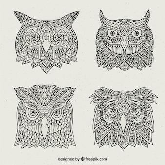 Verzameling van tribal owl hoofden