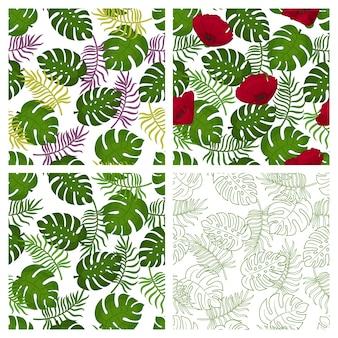 Verzameling van tropische naadloze patronen met palmbladeren op witte achtergrond. eindeloze texturen voor verpakkingen, advertenties, design. illustratie.