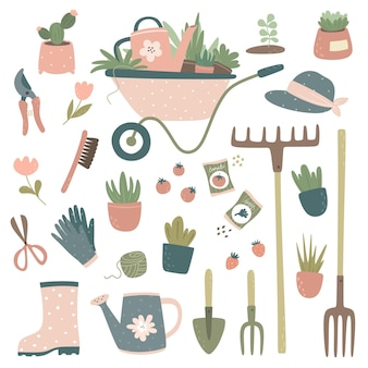 Verzameling van tuingereedschap en -artikelenwagen, gieter, hooivork, hark, bloemen in potten, tuinhandschoenen, snoeischaar, schaar, zaden.