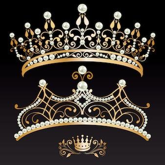 Verzameling van twee gouden met parels tiaras en kroon