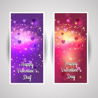 Verzameling van twee valentijnsdag banners