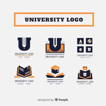 Verzameling van universiteitsemblemen in vlakke stijl