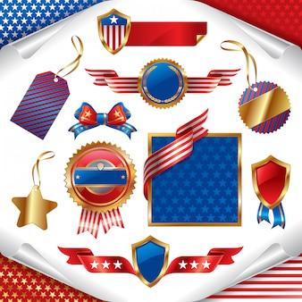 Verzameling van usa patriottische tekens, labels, tags en frames