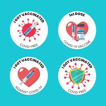 Verzameling van vaccinatiestempels of stickers. vector illustratie