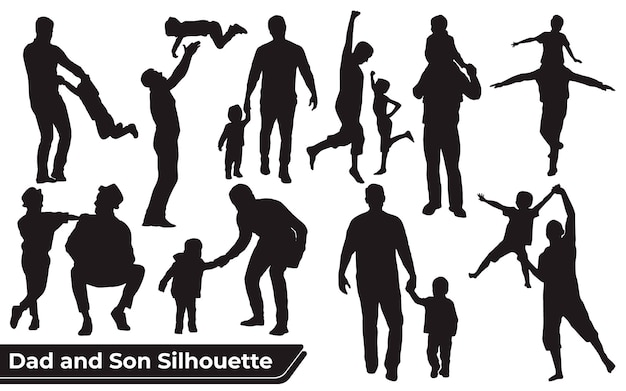 Verzameling van vader en zoon of vader en baby silhouetten in verschillende poses set