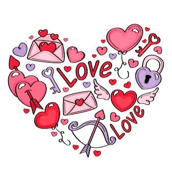 Verzameling van valentijnsdag elementen
