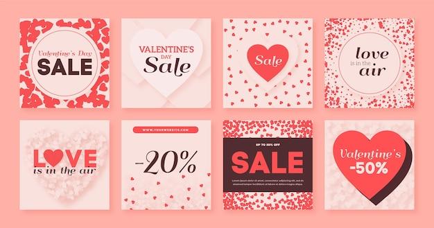 Verzameling van valentijnsdag instagram-berichten