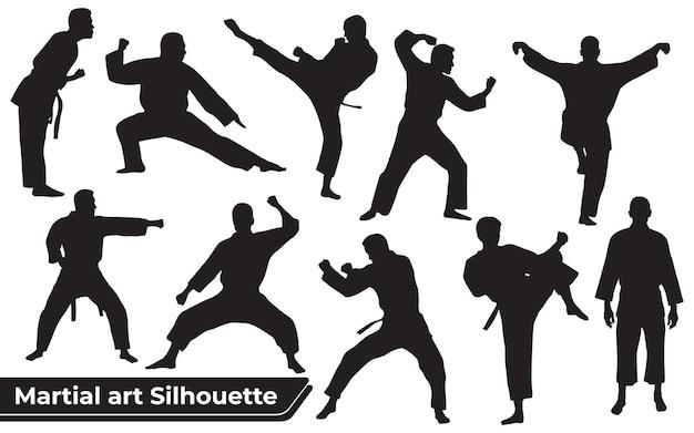 Verzameling van vechtsportsilhouetten in verschillende poses