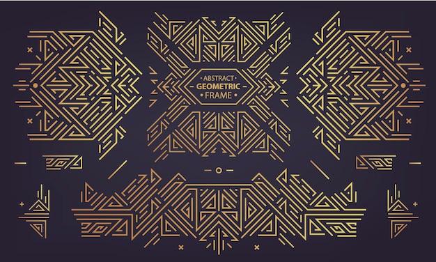 Verzameling van vector art deco gouden randen, frames. creatieve sjablonen in de stijl van de jaren 1920. trendy omslag, grafische poster, gatsby-brochure, design, verpakking en branding. geometrische vormen, ornamenten, element