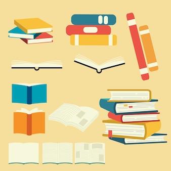 Verzameling van vector boek set. stapel boeken.