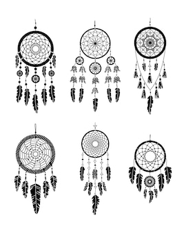Verzameling van vector dreamcathers in boho-stijl. mystieke interieurs. eenvoudige stijl