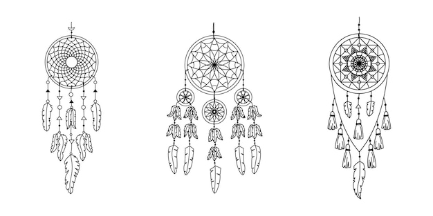 Verzameling van vector dreamcathers in boho-stijl. mystieke interieurs.