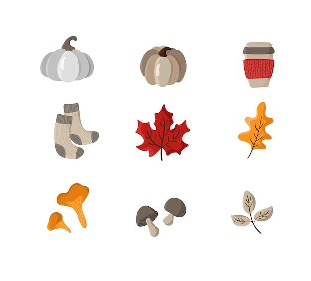 Verzameling van vector handgetekende herfstelementen herfstbladeren