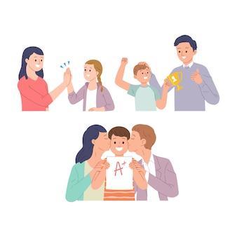 Verzameling van vector illustratie sets van kinderen die uitblinken in de klas en op school
