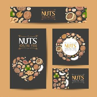 Verzameling van vector kaarten met noten en zaden