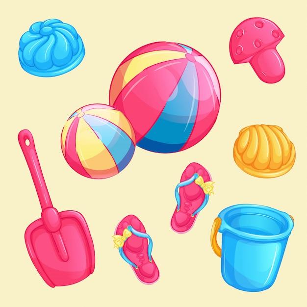 Verzameling van vector kinderen strand items. .