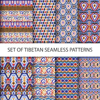 Verzameling van vector kleurrijke pixel naadloze patronen met tibet etnische ornament