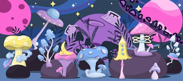 Verzameling van vector magische paddestoelen ruimte cartoon paddestoelen kleurrijke illustraties van de ruimte met planeten