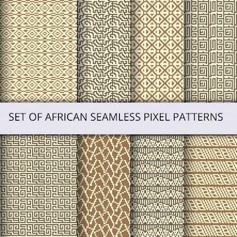 Verzameling van vector pixel naadloze patronen met afrikaanse etnische en tribale ornament