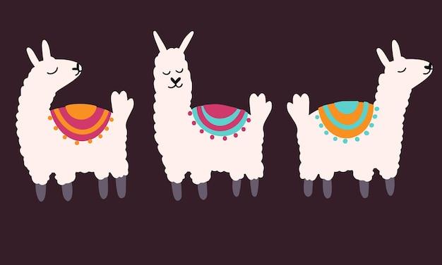 Verzameling van vector schattige lama in cartoon hand getekende kinderachtige stijl