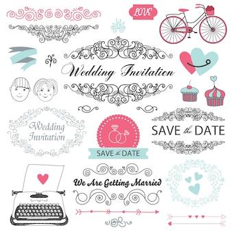 Verzameling van vector vintage, handgetekende bruiloft uitnodiging ontwerpelementen