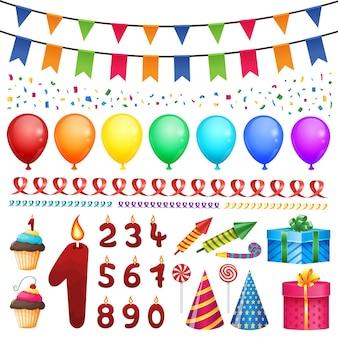Verzameling van vectorelementen van de gelukkige verjaardagspartij. instellen voor feestelijk ontwerp