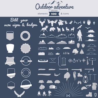 Verzameling van vectorelementen voor buitenavontuur en pictogrammen voor zelfgebouwde badges