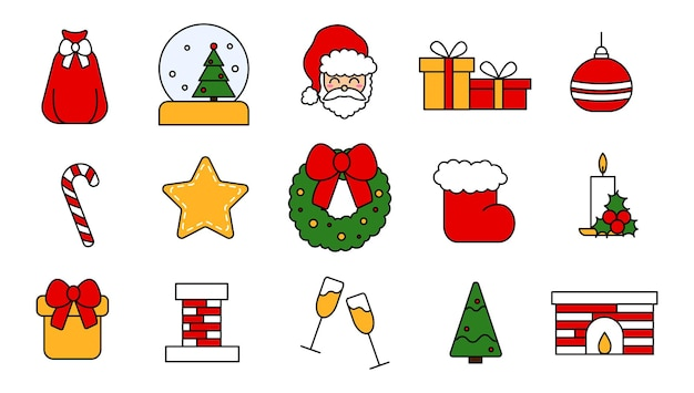 Verzameling van vectorelementen voor de viering van kerstmis. verzameling van bewerkbare pictogrammen voor kerstmis en nieuwjaar in vlakke stijl. vintage traditionele stickers in rood, geel en groen. vector illustratie.