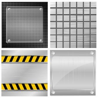 Verzameling van vectorillustraties van metalen platen