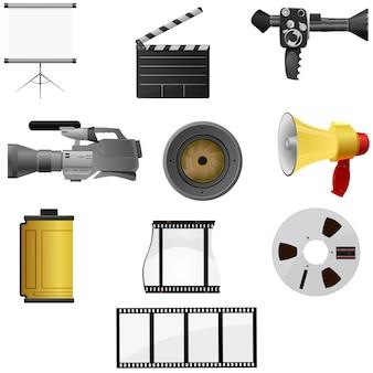 Verzameling van vectorillustraties voor bioscoop en foto's