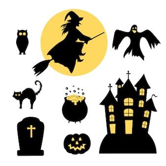 Verzameling van vectorsilhouetten voor halloween-feest