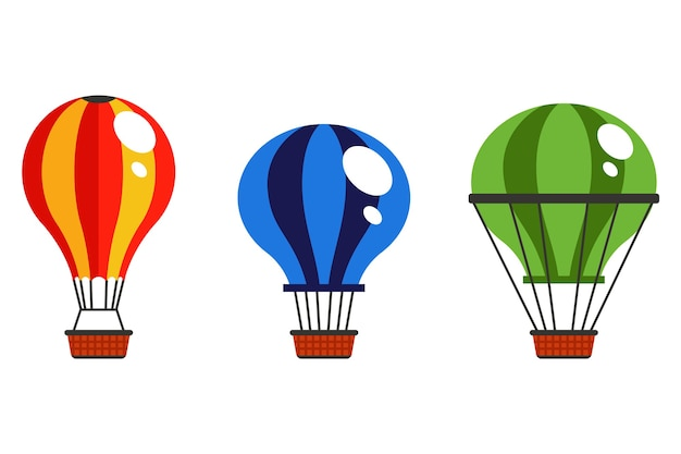 Verzameling van veelkleurige hete luchtballon in de lucht op een witte achtergrond. vlak