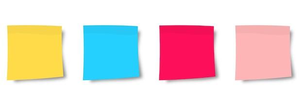 Verzameling van veelkleurige stickers. plaknotities papier. verzameling van verschillende gekleurde vellen notitiepapier. vooraanzicht. klaar voor uw bericht. realistische vectorillustratie