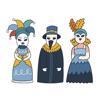 Verzameling van venetiaanse carnavalskarakterkostuums