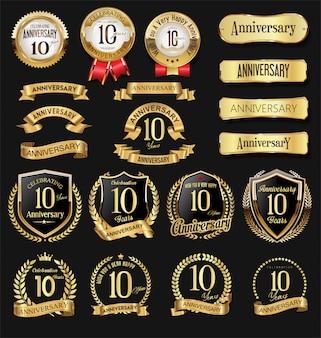 Verzameling van verjaardag gouden logo viering embleem