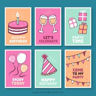 Verzameling van verjaardagskaart met handgetekende elementen