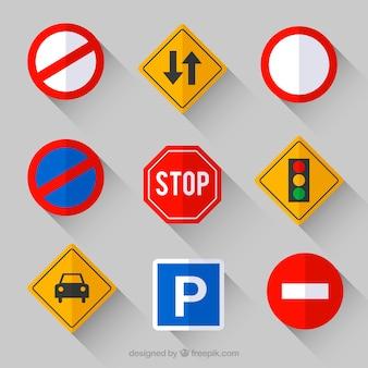 Verzameling van verkeersbord in platte ontwerp