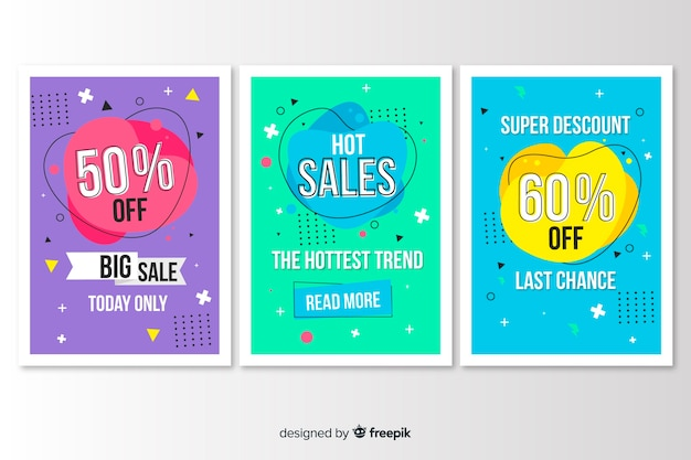 Verzameling van verkoop banner memphis stijl