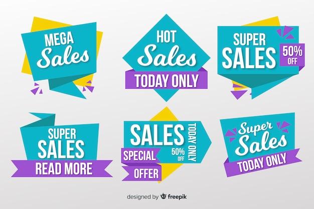 Verzameling van verkoop banners origami stijl