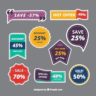 Verzameling van verkoop sticker in verschillende kleuren