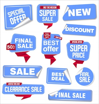 Verzameling van verkoop stickers en tags