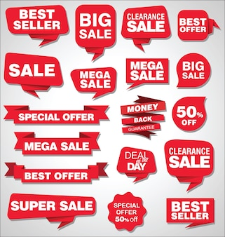 Verzameling van verkoopkorting en promotiebanners en labels