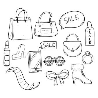 Verzameling van verkooptijd met vrouwentoebehoren